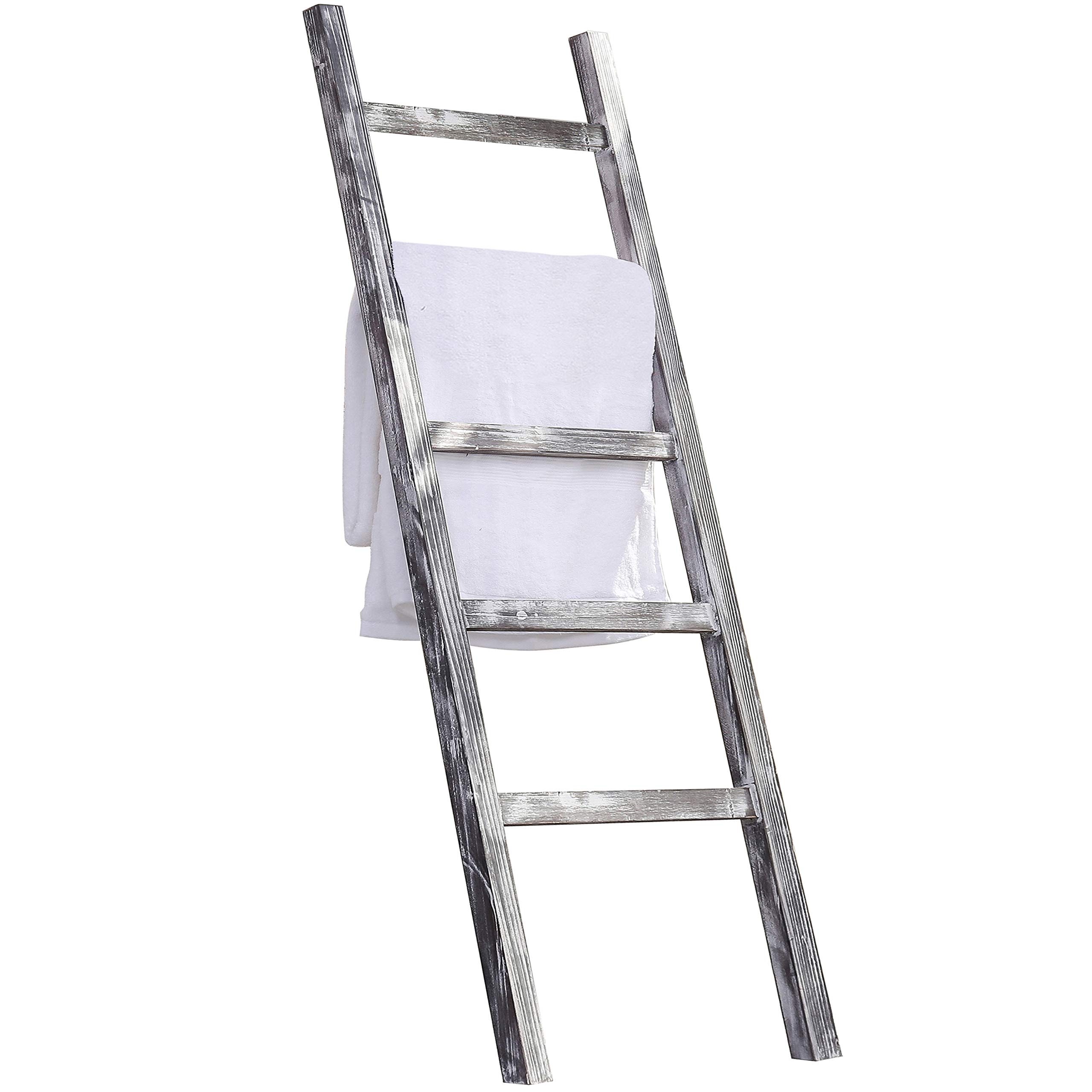 MyGift 4.5-Foot Weathered Wood Decorative Blanket Storage Ladder by MyGift