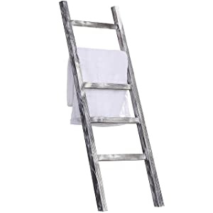 MyGift 4.5-Foot Weathered Wood Decorative Blanket Storage Ladder