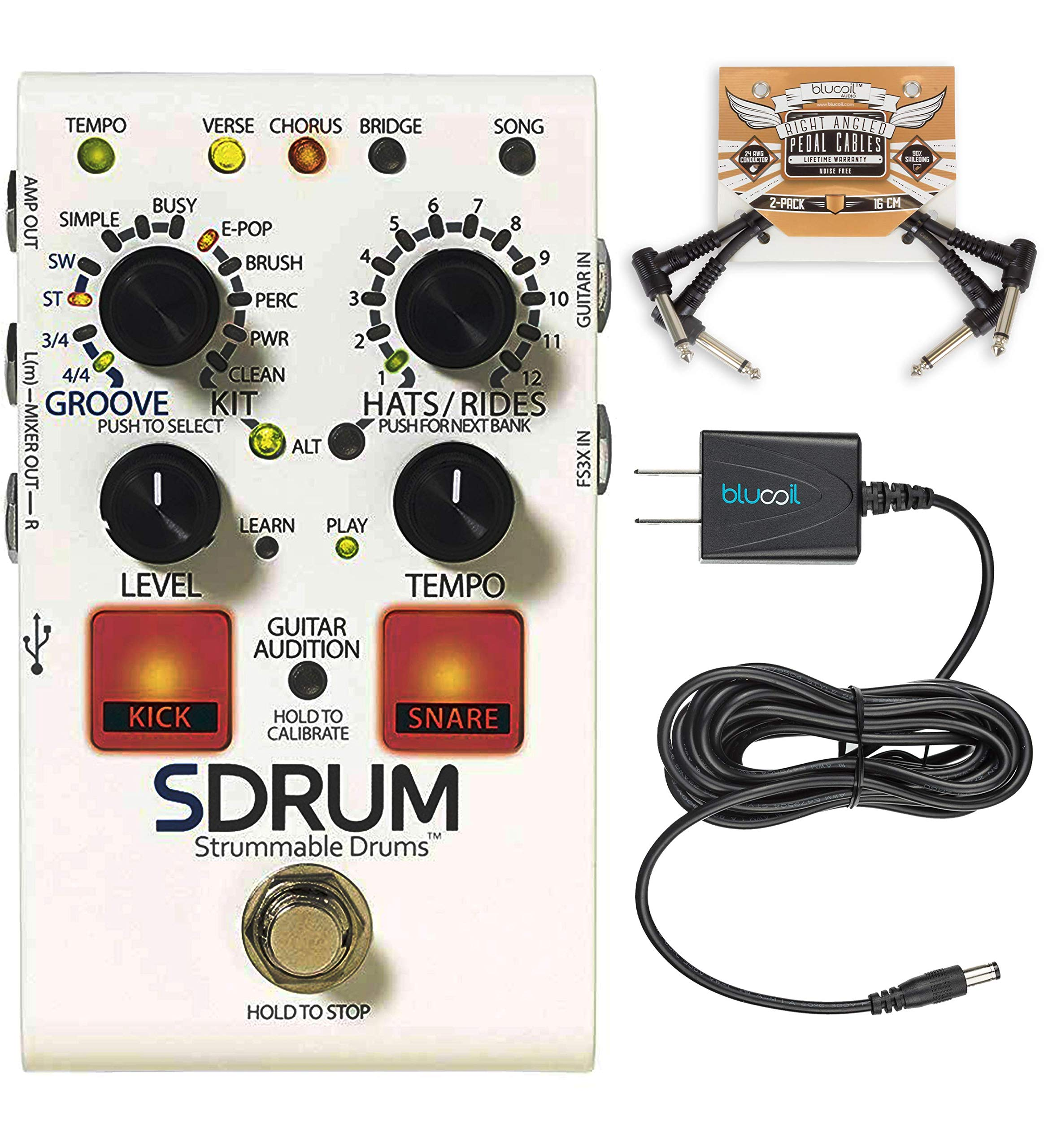 DigiTech SDRUM Auto-Drummer Drum Machine Pedal Bundle with Blucoil 9V DC Power Supply with Short Circuit Protection and 2-Pack of Pedal Patch Cables by blucoil