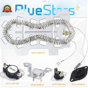 Samsung Dryer Heating Element DC47-00019A, DC96-00887A & DC47-00016A Thermal Fuse, DC47-00018A Thermostat and DC32-0000A Dryer Thermistor COMPLETE Dryer Repair Kit Replacement by Blue Stars
