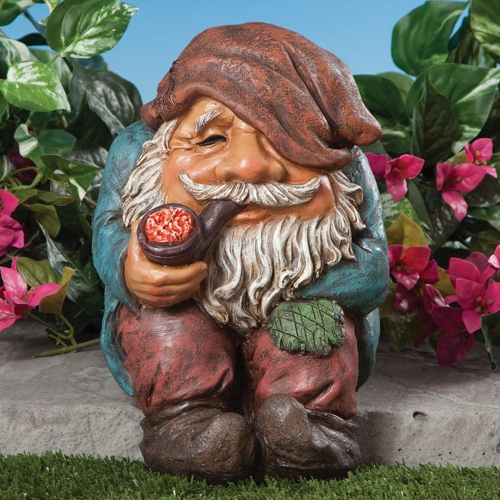 Bits y piezas – divertida sesión Gnome jardín Escultura – – gnomo de jardín al aire libre jardín – estatua de pintado a mano resistente a la intemperie Polyresin Escultura: Amazon.es: Jardín