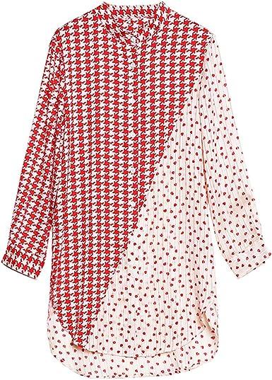 Camisa Camisa de Gasa de Manga Larga con Cuello Alto y Blusa ...