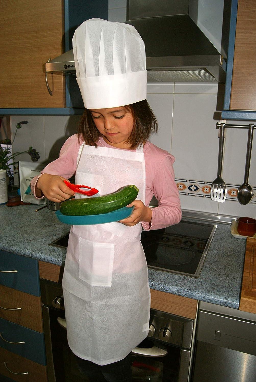 Emotiset Lot de 24 Tabliers et 24 Bonnets de Cuisine Enfants Blancs Kit de Cuisine Chef Enfant
