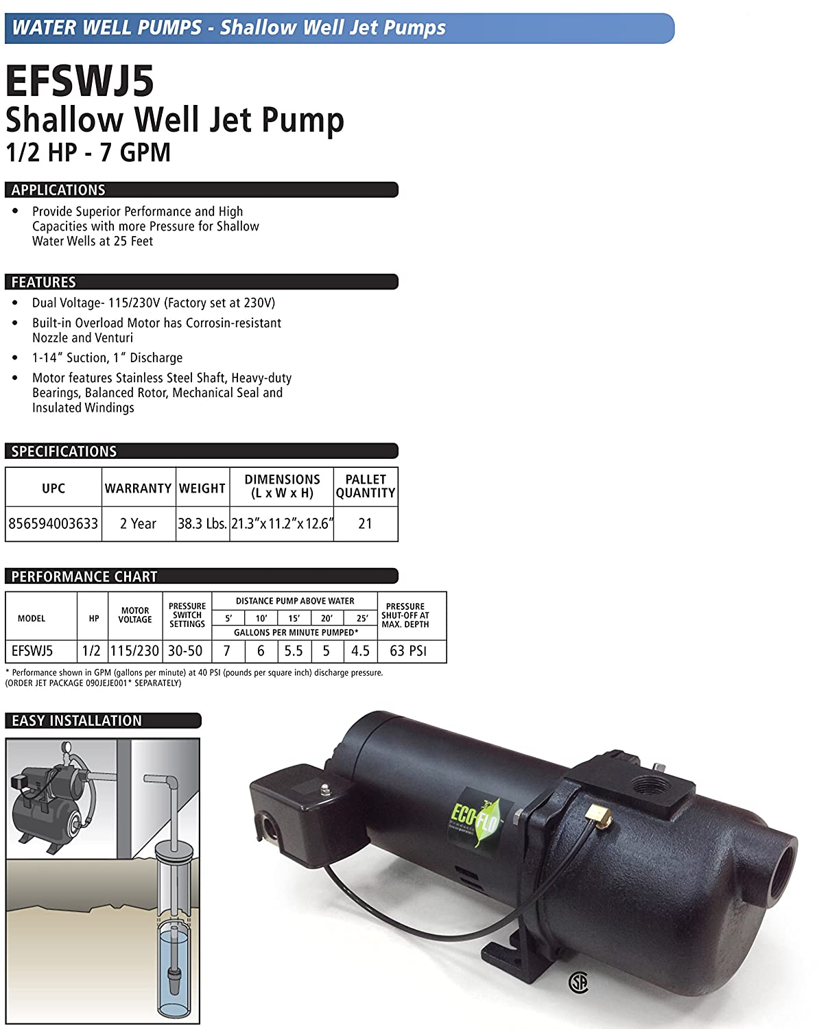 ECO-FLO Products EFSWJ7P Shallow Water Well Jet Pump 3//4 HP 14.1 GPM