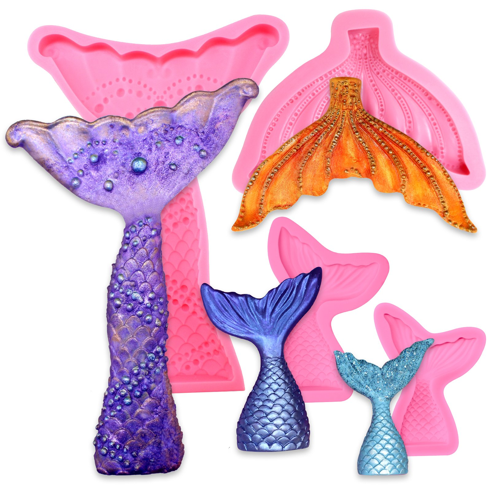 Funshowcase Mermaid Tail and Fin Silicone Mold for Sugarcraft Fondant Cake Decoration, Cupcake Topper, Chocolate, Pastry, Jewelry Making, Polymer Clay, Epoxy Resin, Soap Crafting Projects 4-Count