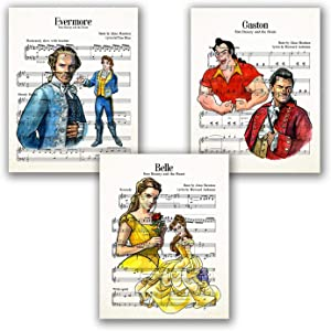 Beauty and The Beast Posters - Set of 3 Wall Art Prints // Belle Gaston Adam Pictures // Kids Bedroom Wall Decor // Nursaery Artwork // Watercolor Painting - Music Sheets // Home Living Room (8x10)