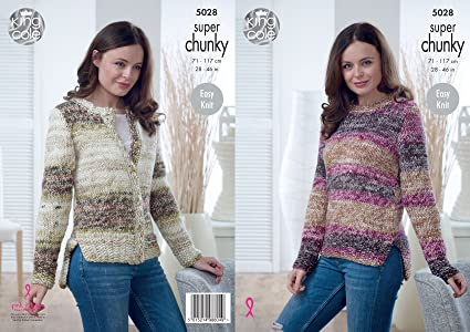 57603e8be Image Unavailable. Image not available for. Colour  King Cole Ladies Super  Chunky Knitting Pattern Easy Knit Split Hem Sweater   Cardigan ...