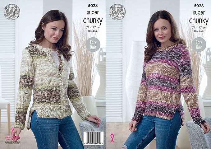 King Cole Ladies Super Chunky Knitting Pattern Easy Knit Split Hem ...