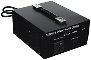 ELC T-2000 2000-Watt Voltage Converter Transformer - Step Up/Down - 110V/220V - Circuit Breaker Protection