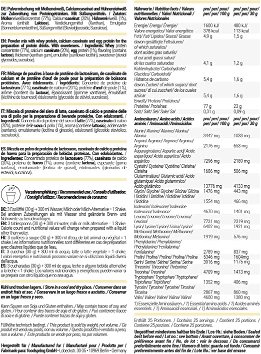 foodspring Proteína 3K, Vainilla, 750g, La mezcla de ...