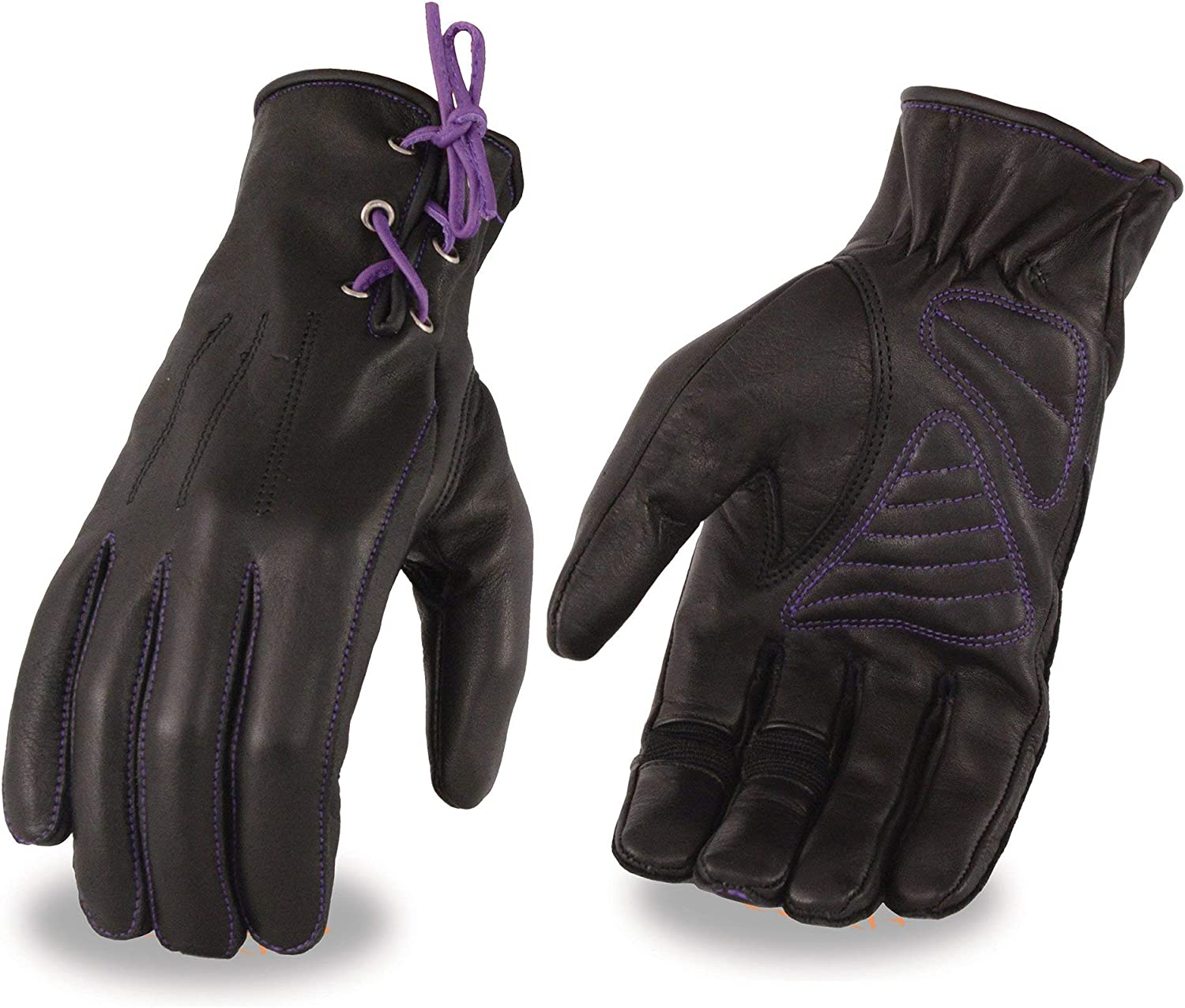 Milwaukee Leather MG7771 Ladies Black and Purple Leather Gloves with Gel Palms and Purple Laces X-Small