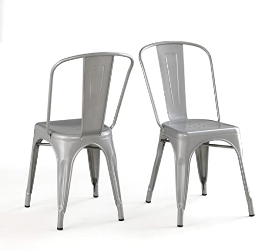 Bistro Dining Chair, Solid Steel Set of 2 Silver Finish