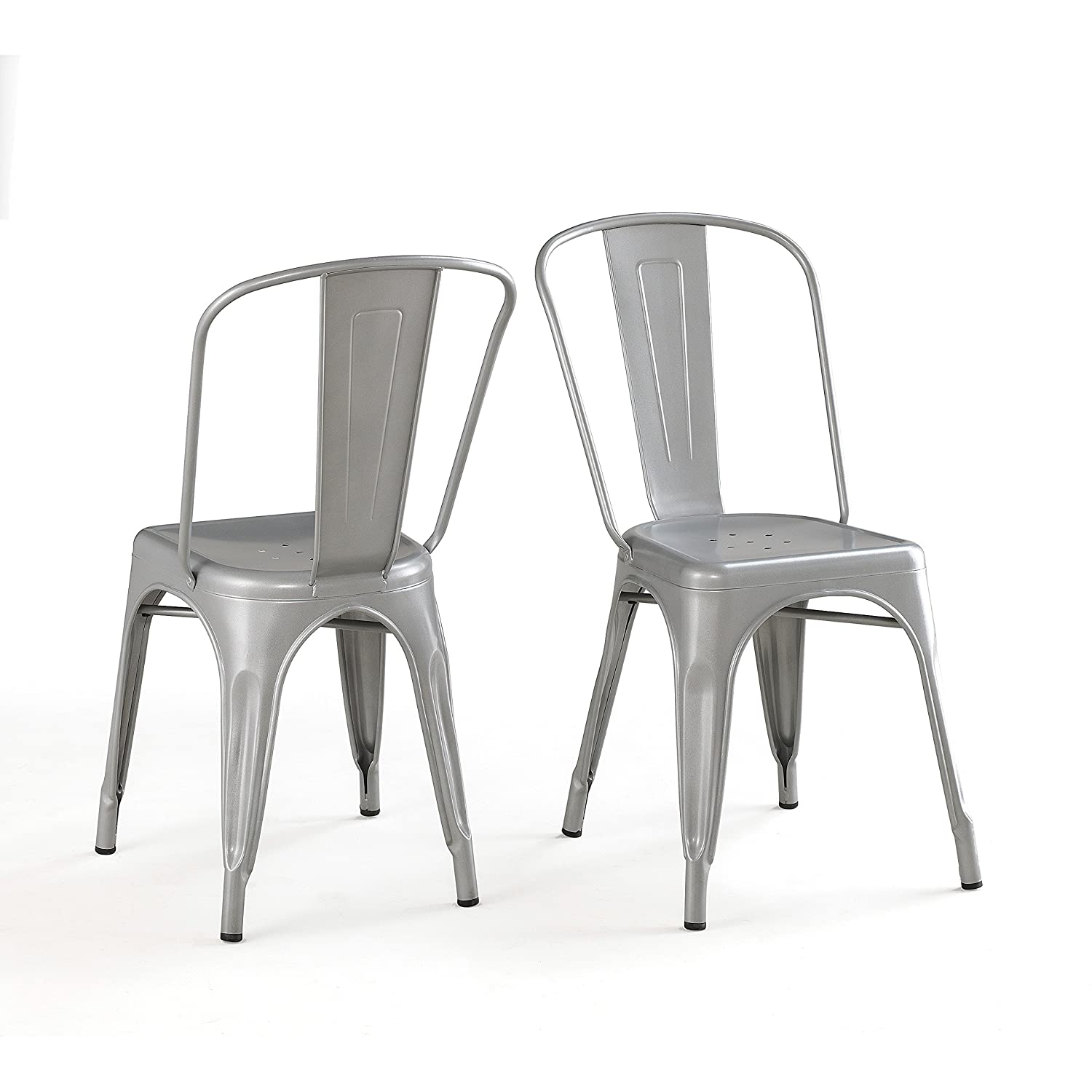 Amazon Bistro Dining Chair Solid Steel Set of 2 Silver