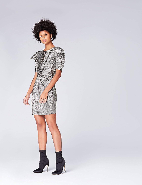 find Marke Abendkleid Damen Metallic-Glanz und Wickeldesign