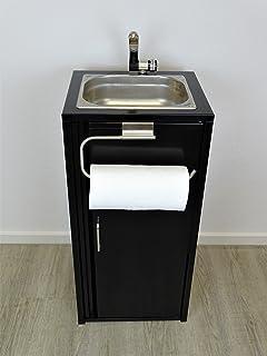 Lavabo portátil Negro Incluye fregadero de acero inoxidable con soporte para rollos de cocina/listo