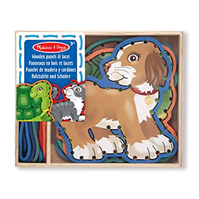 Melissa & Doug Lace and Trace Activity Set: Pets - 5 Wooden Panels and 5 Matching Laces: Toys & Games