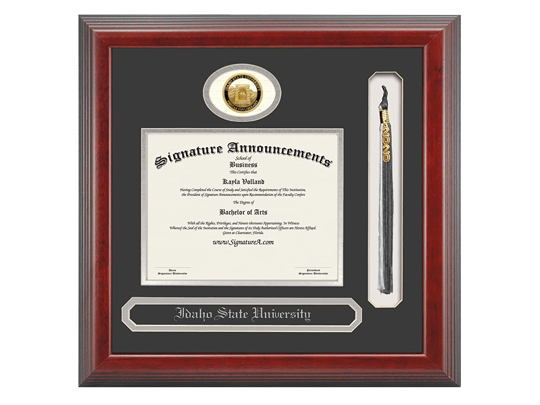 16 x 16 Name /& Tassel Graduation Diploma Frame Signature Announcements Idaho-State-University Undergraduate Cherry Professional//Doctor Sculpted Foil Seal