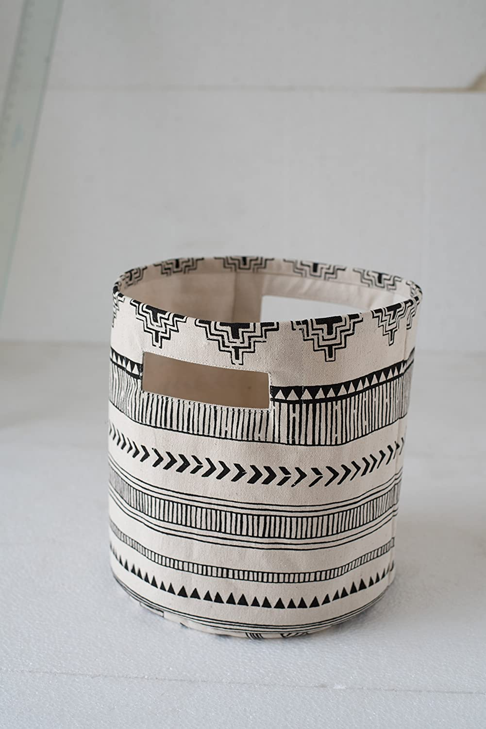 """VLiving Round Foldable Canvas Fabric Storage Basket Designed by Aztec Print with Dual Handles (Black and White,12""""X 14"""")"""