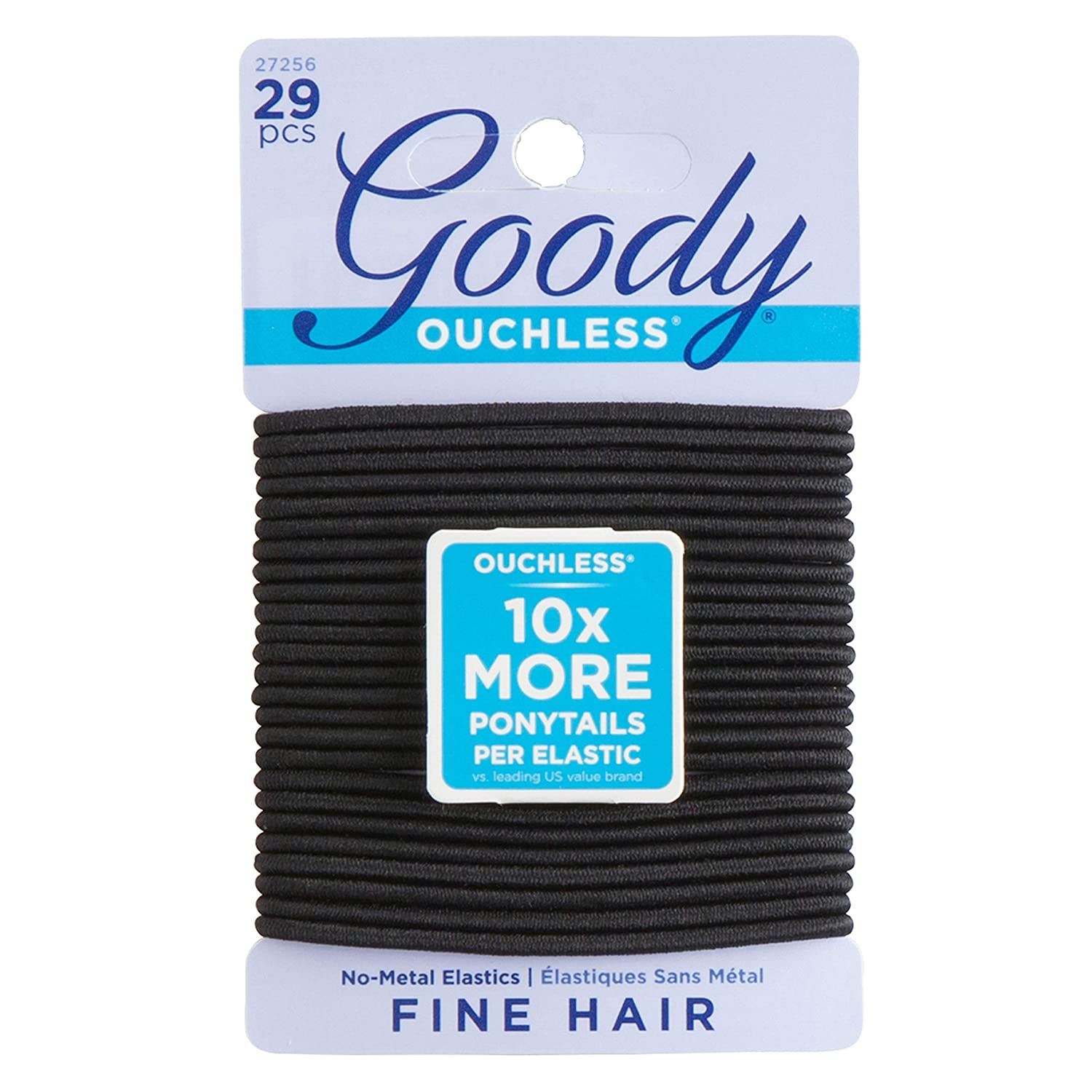 Goody Women's Ouchless 2 mm Elastics, Black, 29 Count : Ponytail Holders : Beauty