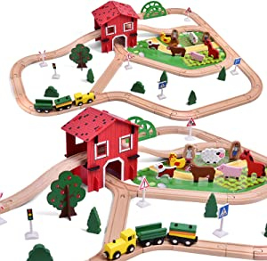 FUN LITTLE TOYS Wooden Farm & Tractor Play Set