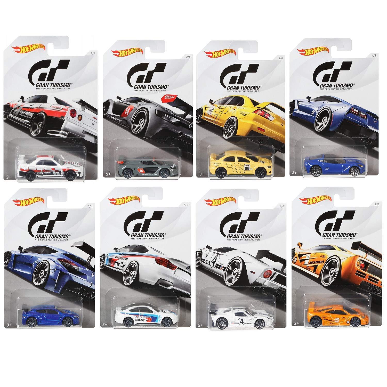 Hot Wheels FKF26 Gran Turismo Set of 8 Diecast Toy Cars