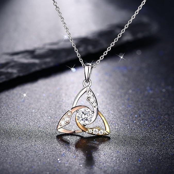 Collana in Argento 925 color2 J.Ros/éeLe lacrime di Venere 5A Zircone per Donna Tre colori bianco//oro//oro rosa Regalo di San Valentino