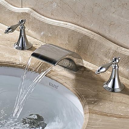 Senlesen Chrome Finish 8-Inch Widespread Bathroom Sink Faucet 3 ...