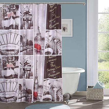 Ininsight solutions' PVC Printed Bathroom Shower Curtain 6 feet with 12 Hooks 180*180 cm (SC-3)