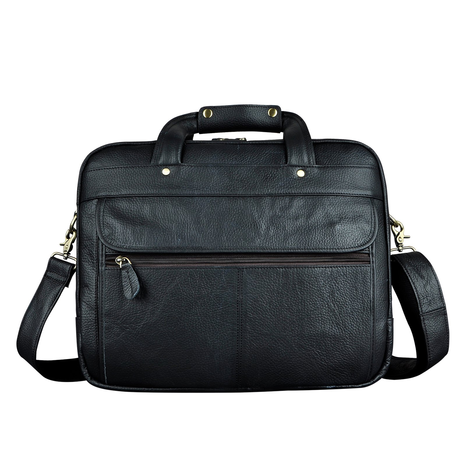 Le'aokuu Leather Mens Business Travel Laptop Case Best Portfolio Briefcase Handles Organizer Shoulder Strap Messenger Bag (Y B1001 Black)