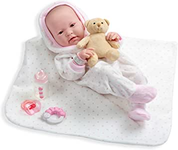 JC Toys La Newborn All-Vinyl-Anatomically Correct Real Girl 17inches Baby Doll in White and Pink Outfit, in 9 Piece Deluxe Gift Set, Designed by Berenguer.