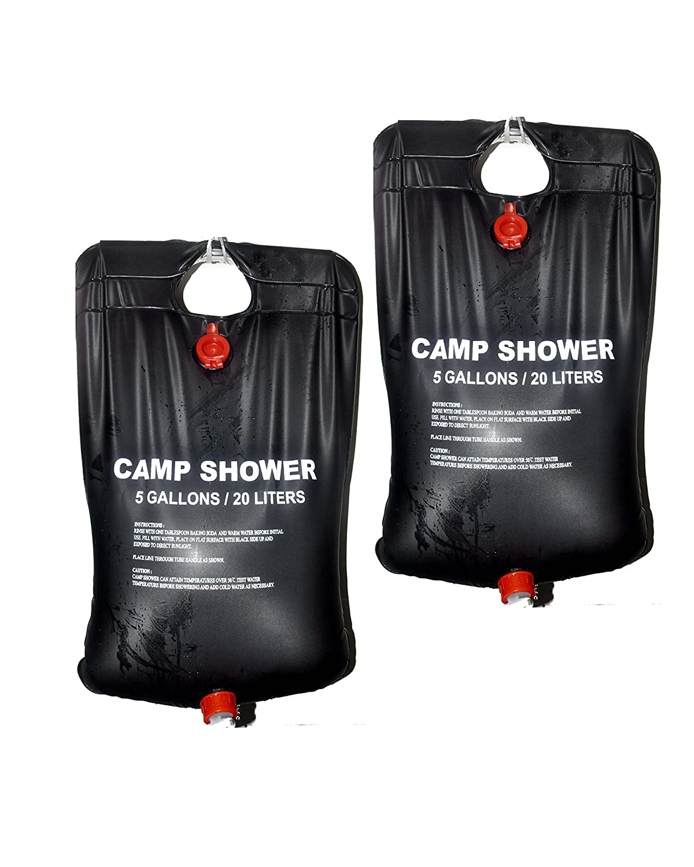 Solar Shower Bag, Solar Heated Camping Surf Shower(Black-20L-1PCS) 5A