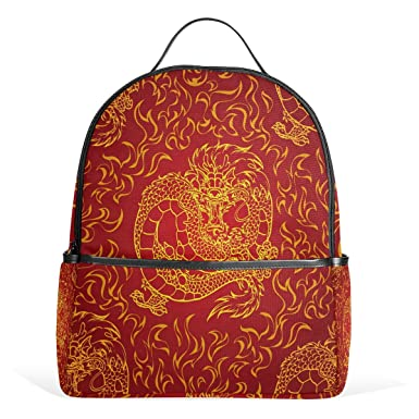 amazon com alaza asian fire dragon polyester backpack school