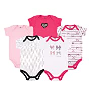 Hudson Baby Baby Cotton Bodysuits, Bows 5-Pack 0-3 Months (3M)