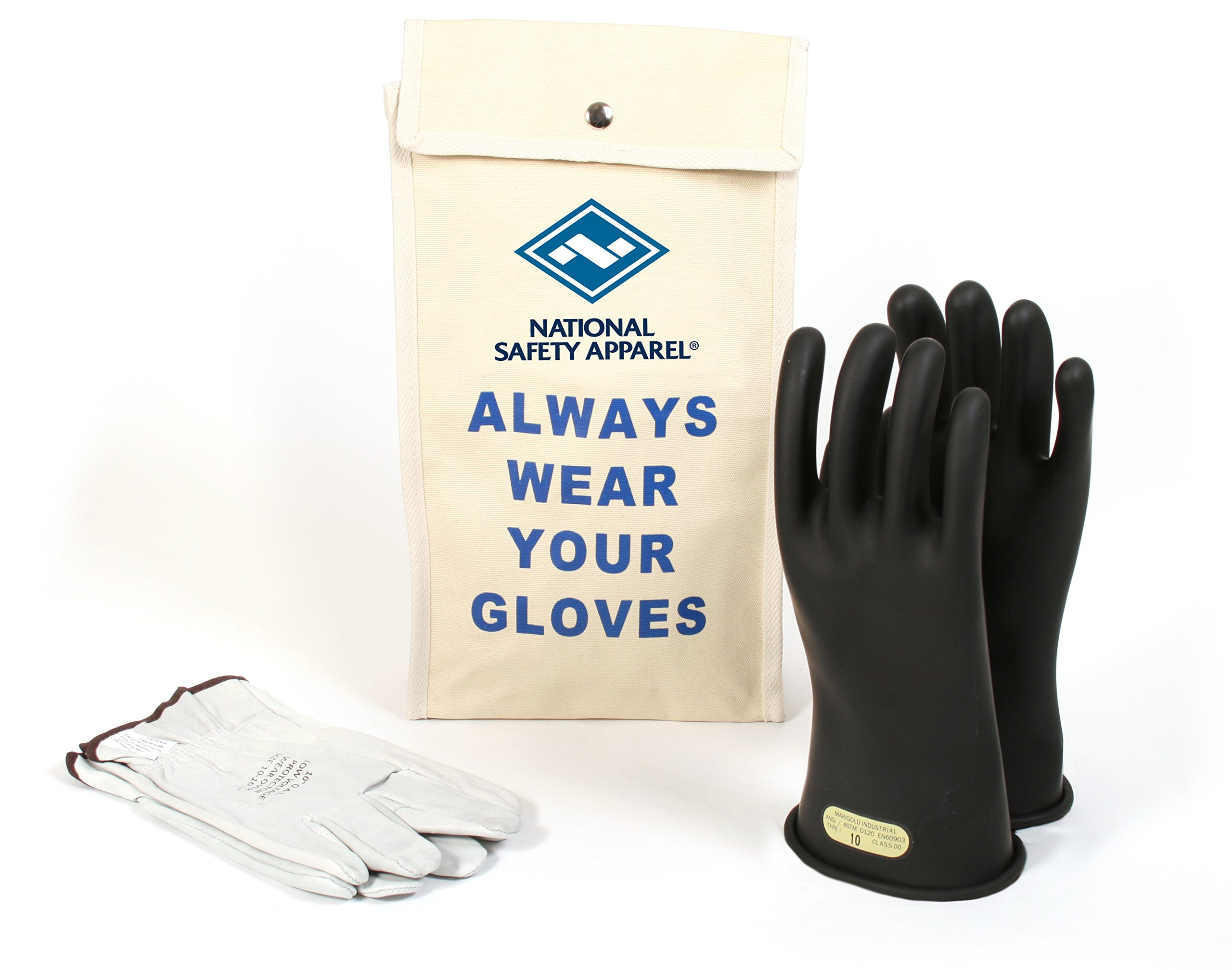National Safety Apparel Class 00 Black Rubber Voltage Insulating Glove Kit with Leather Protectors, Max. Use Voltage 500V AC/ 750V DC (KITGC0012)