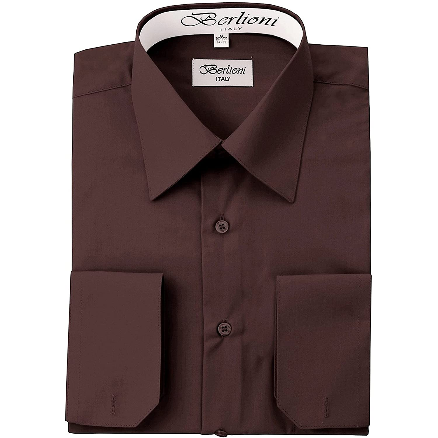 Berlioni Men's Dress Shirt - Convertible French Cuffs - Huge Color Selection 12NO