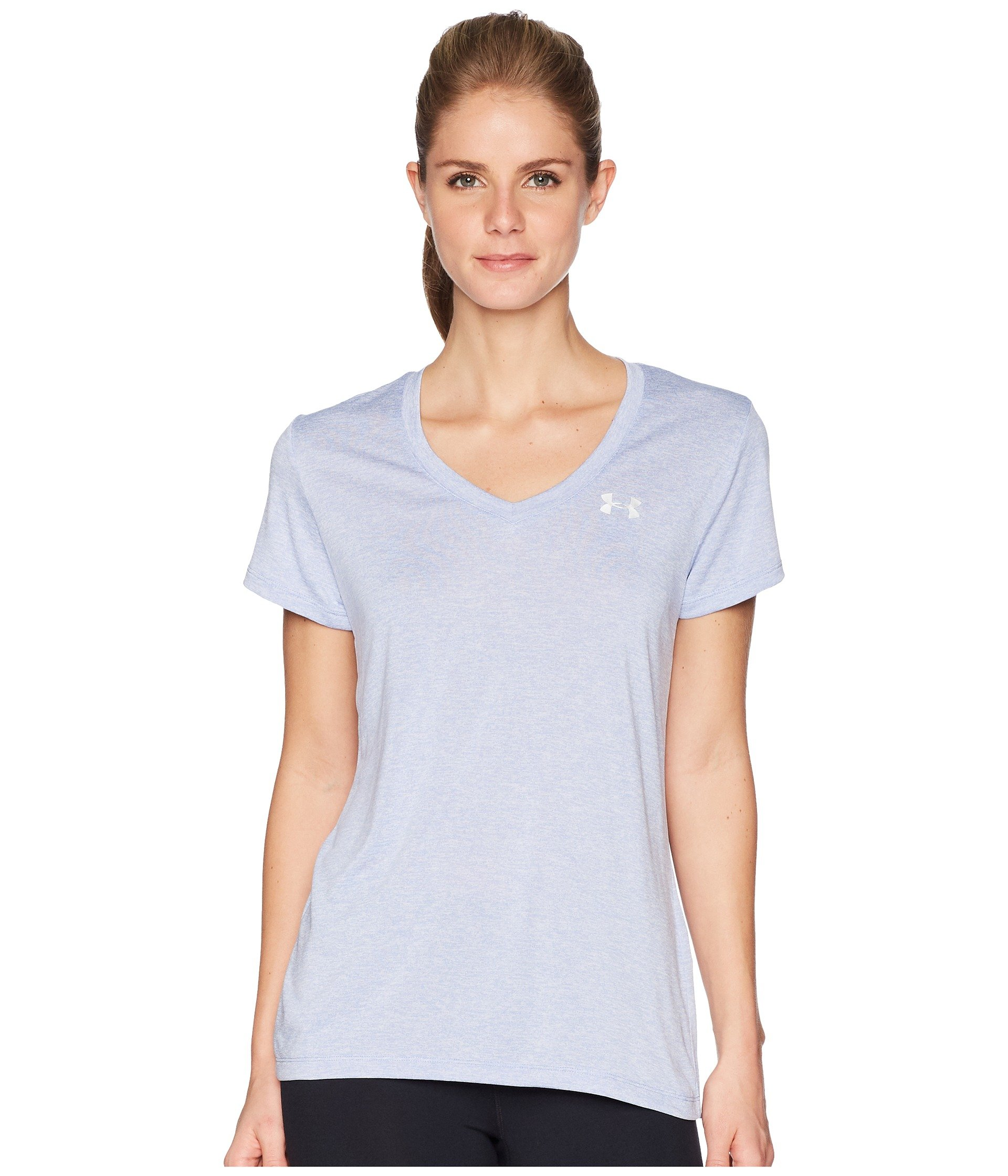 Under Armour Women's UA Tech¿ Twist V-Neck Talc Blue/Metallic Silver Small by Under Armour (Image #1)