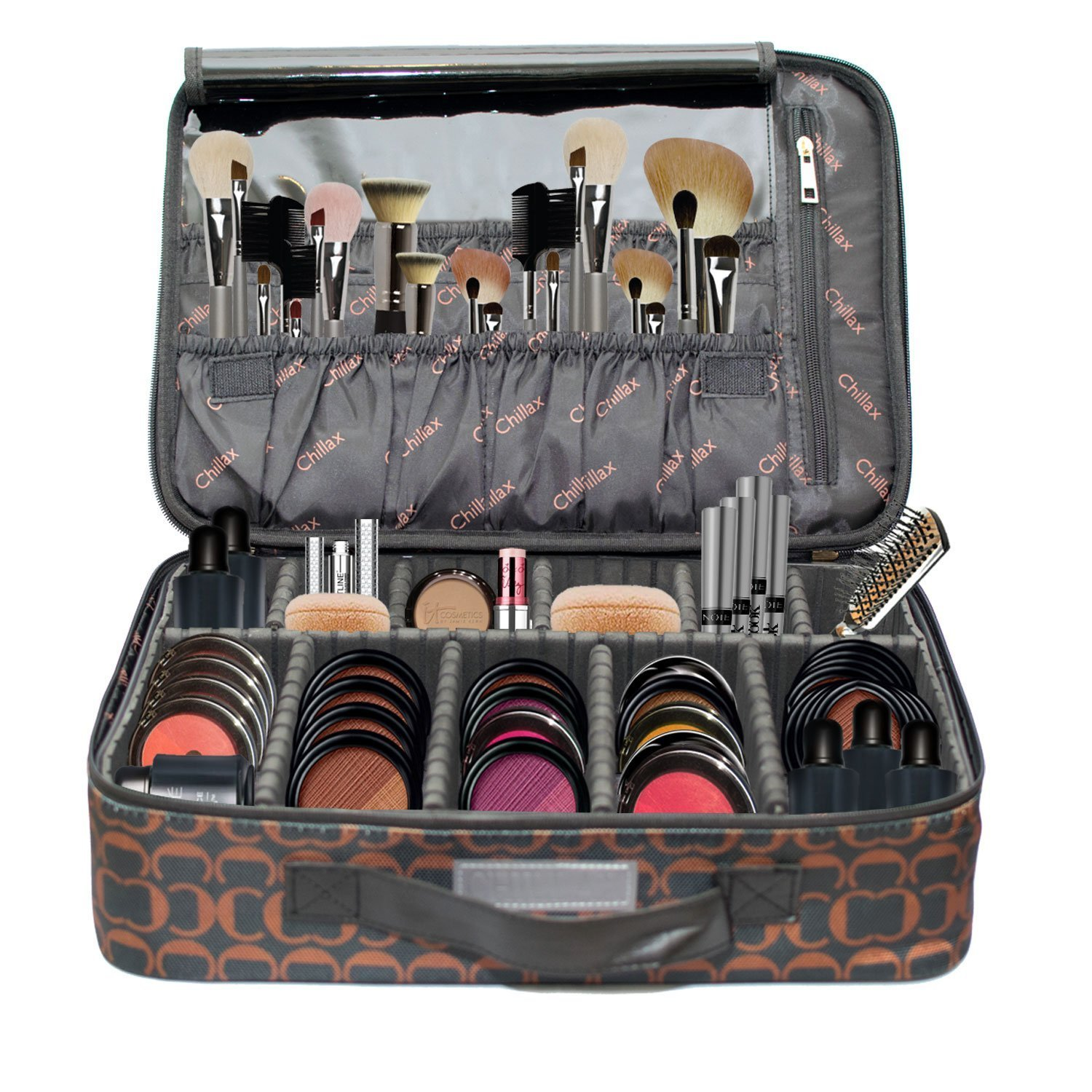 Makeup Organizer Bag Large Make Up Case with Brush Holder Compartments Professional Train By Chillax - Perfect Professional Storage Organizers kit for ...