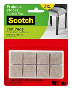 Scotch Brand SP844 051141412290 Scotch Felt, Square, Beige, 1 in. x 1 in, 16 Pads/Pack (SP844-NA)