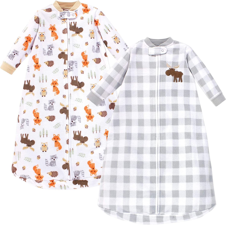 Hudson Baby Unisex Baby Long-Sleeve Fleece Sleeping Bag, Woodland, 0-9 Months