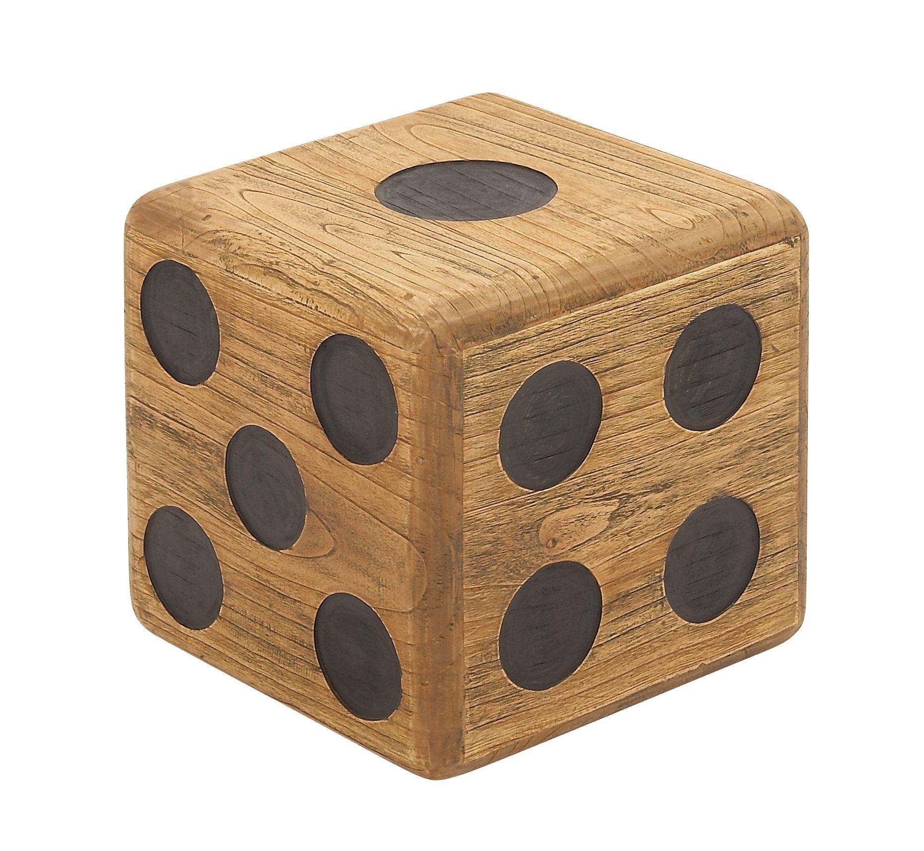 Deco 79 59205 Wood Teak Dice Stool, 16'' x 16''