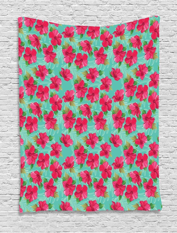ABAKUHAUS Hawaiano Tapiz de Pared, Botánico del Hibisco, para el Dormitorio Apto Lavadora y Secadora Estampado Digital, 100 x 150 cm, Espuma De Mar Magenta Y Verde