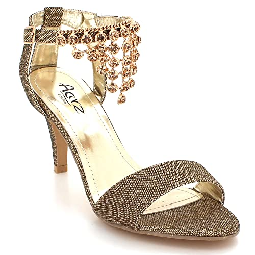 6c5240df2fa8 AARZ LONDON Womens Ladies Sparkly Crystal Diamante Gems Evening Wedding  Party Bridal Prom High Heel Brown