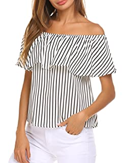 bcf7e0af4f5d04 Sherosa Women s Off Shoulder Ruffles Solid Casual Blouse Loose Tops