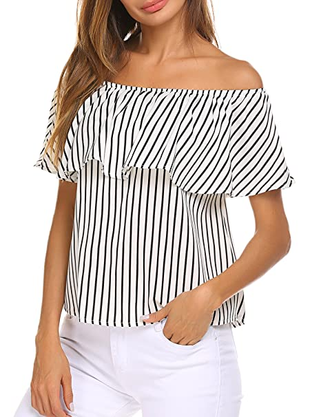 a89140ded02bfa Sherosa Women s Off Shoulder Ruffles Solid Casual Blouse Loose Tops ...