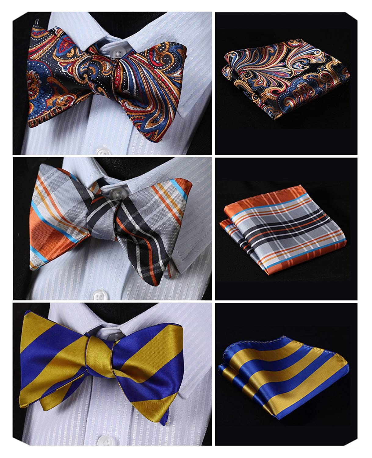HISDERN 3pcs Classic Men's Self-Tie Bow tie & Pocket Square - Multiple Sets BA3001