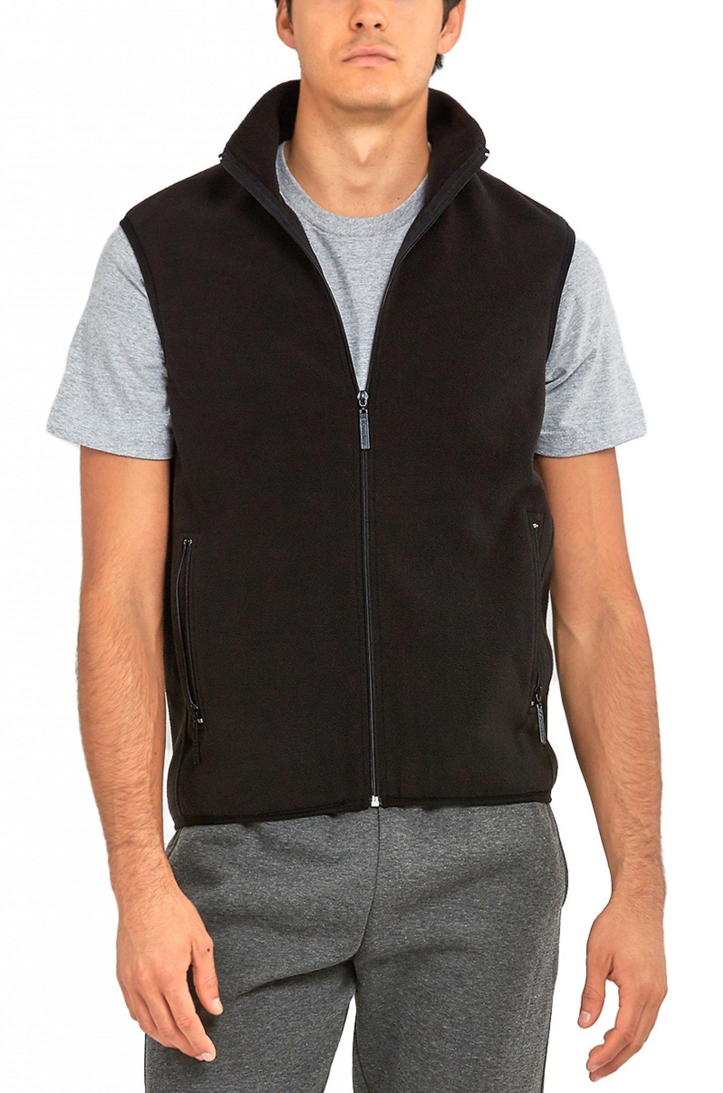 ToBeInStyle Men's Zipup Sleevless High Collar Polar Fleece Vest - Black - XL
