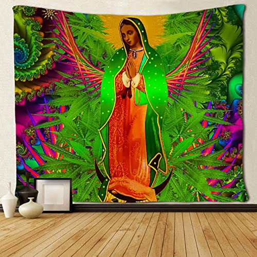 SARA NELL Trippy Psychedelic Tapestry Guadalupe Angels Cosmos and Goddesses Tapestries Wall Hanging Hippie Art Home Decoration College Dorm Decor for Living Room Bedroom 60×90 Inches