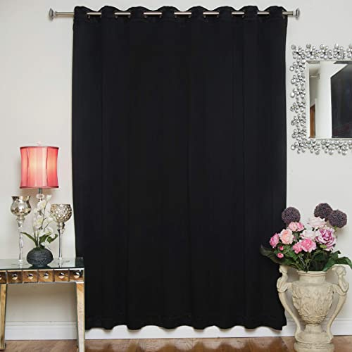Black Wide Width Antique Brass Grommet Top Thermal Insulated Blackout Curtain 100 Inch Wide