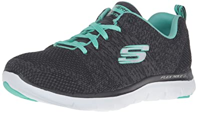 Skechers Flex Appeal 2 High Energy, Baskets Basses Femmes, Noir (Bkaq Noir/Aqua), 36 EU