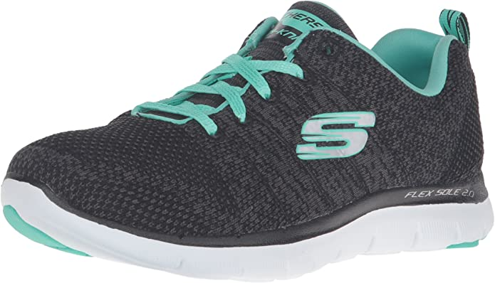 Skechers Flex Appeal 2.0 High Energy Sneakers Damen Grau/Türkis